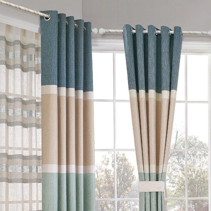 Blue Macaroon Nordic Strip Blockout Luxury Curtains Custom