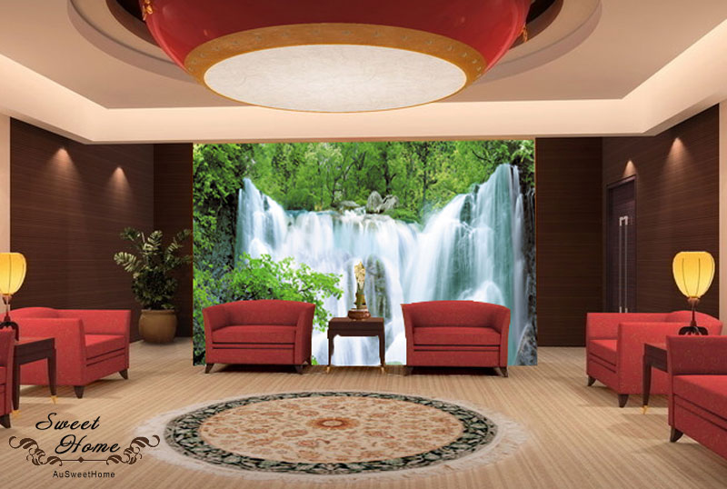 Full Wall Mural Decals: Green Forest Waterfall Full Wall Mural Decal Print