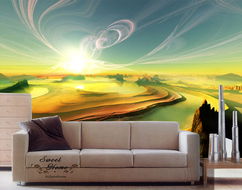 Amazing sunset glory landscape full wall mural decal print for Amazing wall mural
