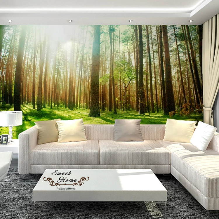 Green Forest Sunshine Full Wall Mural Wallpaper Print Decal Indoor Deco  Home Au | EBay